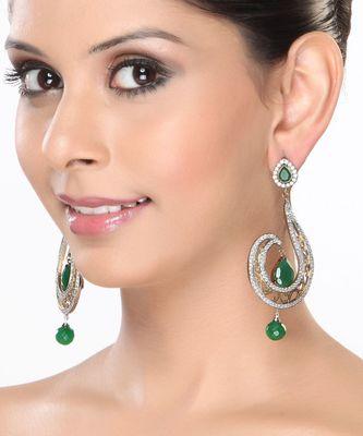 Emerald and CZ Dangler Earrings