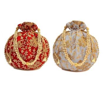 Shoptory India Wristlets Embroidered Ethnic Potli For Women & Girls Rajasthani Return Gift For Wedding, Red Grey