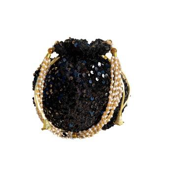 Shoptory India Potli Bags for Women Stylish Latest Return Gifts Wedding, Black