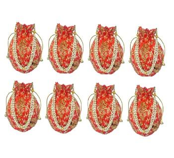 Shoptory India Wristlets Embroidered Ethnic Potli For Women & Girls Rajasthani Return Gift , Orange, Pack of 8