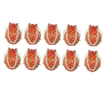 Shoptory India Wristlets Embroidered Ethnic Potli For Women & Girls Rajasthani Return Gift, Orange, Pack of 10