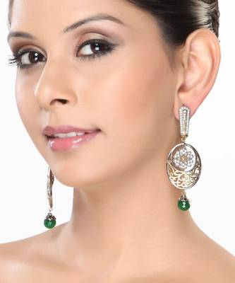 CZ and Green Onyx Dangler Earrings