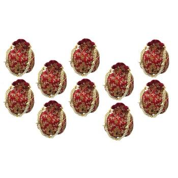 Shoptory India Wristlets Embroidered Ethnic Potli For Women & Girls Rajasthani Return Gift , Maroon, Pack of 10