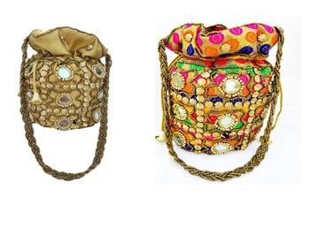 Shoptory India Wristlets Ethnic Rajasthani Potli bags For Women & Girls Rakhi Gift for her, Multicolor Gold, Pack of 2