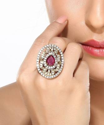CZ and Ruby Oval Fashion Ring