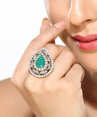 Teardrop CZ and Emerald Ring