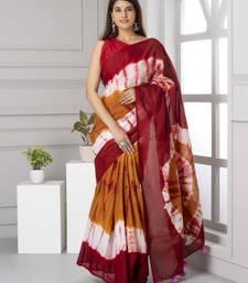 Pure Cotton Malmal Saree Bagru Print Batik Hand block Womens Saree Shibori