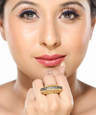 Handcrafted Cutwork Gold plated Dome Ring