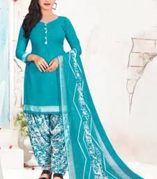 Fab Kudi Women's Light Blue Color Crepe Printed Unstitched Salwar Suit