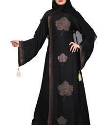 Khadija Fashion,Women,Golden Flower Design Burqa And Golden Stone Worked Sleeve.