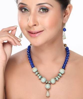 Blue Onyx and Enamel Beads Necklace set