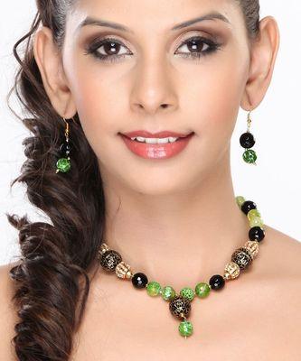 Green Agate, Black Onyx, Enamel Beads Necklace set