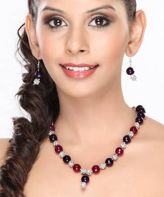 Purple , Red Onyx and CZ Beads Necklace set