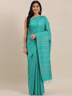 The Chennai Silks Green Dupion Saree With Running Blouse