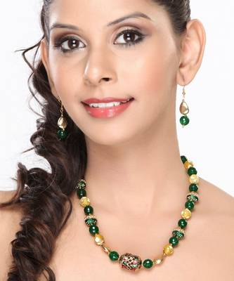 Yellow Agate and Green Onyx Beads Necklace set