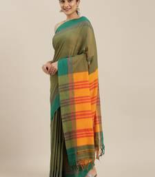 The Chennai Silks Green Mercerized Saree With Running Blouse
