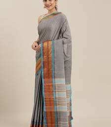 The Chennai Silks Grey Mercerized Saree With Running Blouse