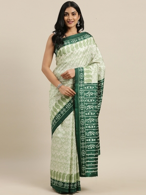 The Chennai Silks Green Ikat Dupion Saree With Running Blouse