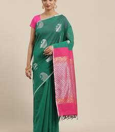 The Chennai Silks Green Silk Cotton Saree With Running Blouse