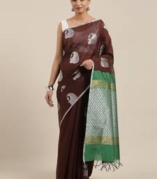 The Chennai Silks Brown Silk Cotton Saree With Running Blouse