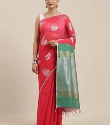 The Chennai Silks Red Silk Cotton Saree With Running Blouse