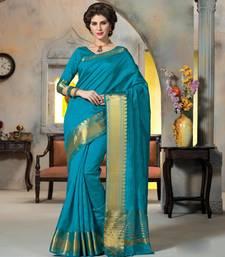 Buy blue woven Silk saree with blouse art-silk-saree online
