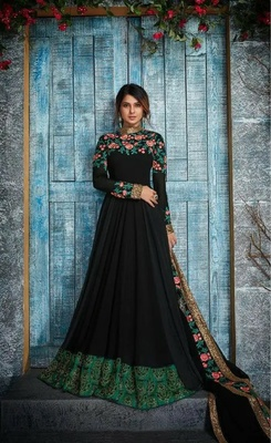 peach embroidered art silk readymade suits