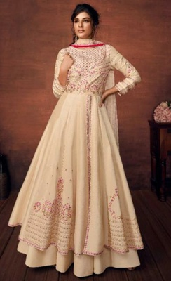 cream embroidered art silk readymade suits