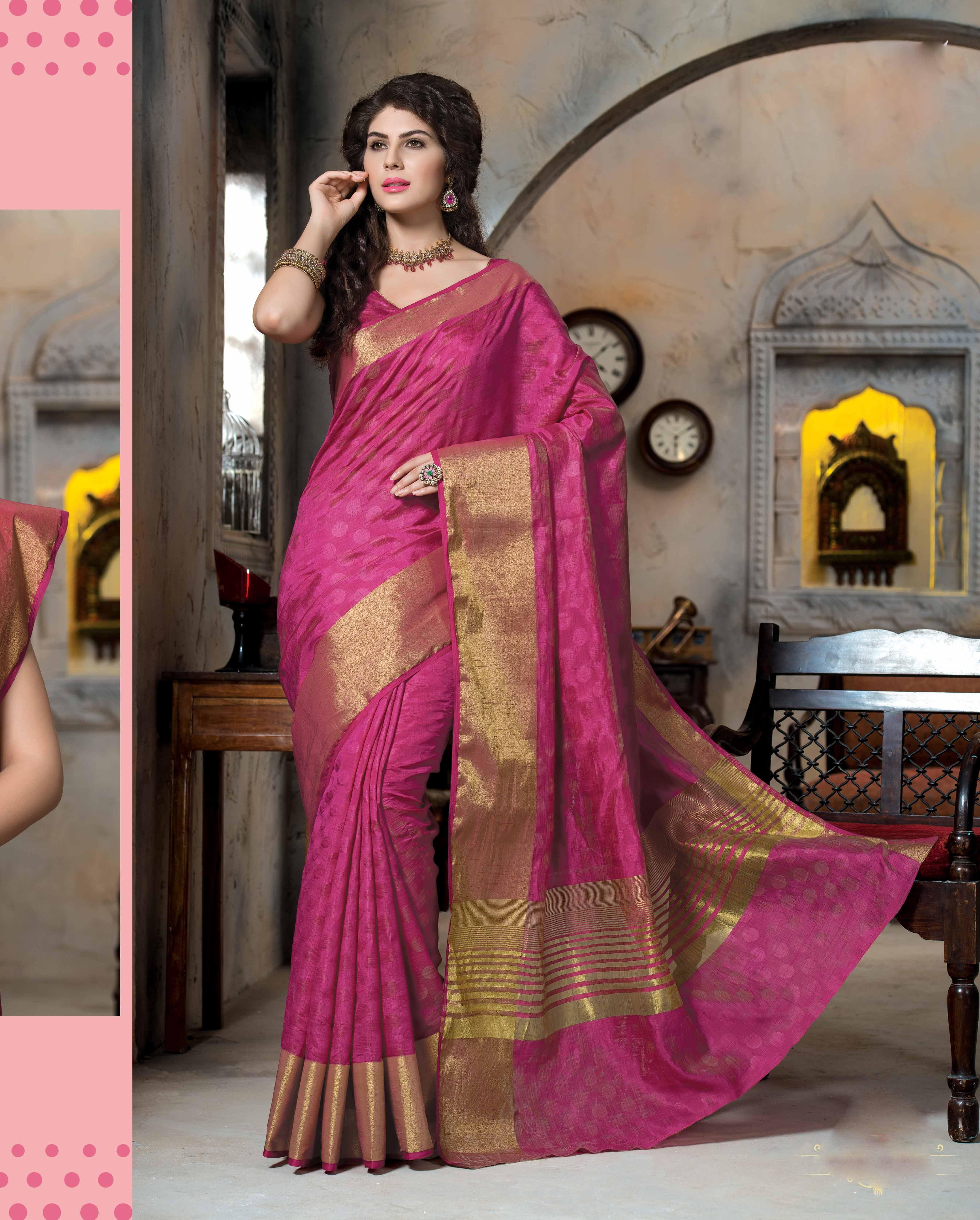 abdc954e49303 Pink woven art silk saree with blouse - Rajshri Fashions - 506432