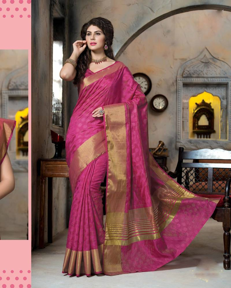 63fb3b9b93 Pink woven art silk saree with blouse - Rajshri Fashions - 506432