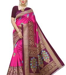 pink colour art silk printed saree with blouse