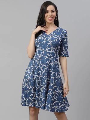 Blue printed cotton short-dresses