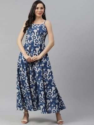Blue printed cotton maxi-dresses