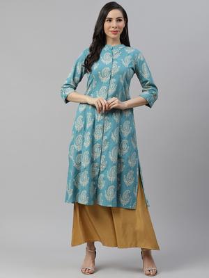 Sky-blue printed cotton long-kurtis