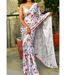 White Satin All over Rose and Leaf  Printed  Saree With  Seprate  Blouse