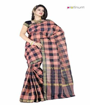 Platinum Latest Ethnic Pure Cotton Checked Formal Wear Saree Sari PS032