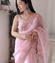 Baby Pink Organza Mirror Work Saree