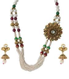 Buy Maroon Green Sunflower Pendant White Earrings Copper Necklace Set necklace-set online