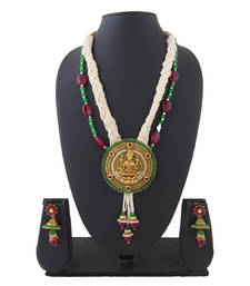 Buy Maroon Green Big Laxmi Pendant Copper Necklace Set with Pearls necklace-set online