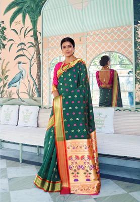 Green Colore Banarasi Silk Saree With Weaving Work Beautiful Party Wear And Wedding Wear Saree Classy Look Saree