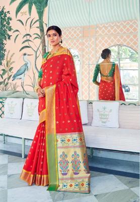 Red Colore Banarasi Silk Saree With Weaving Work Beautiful Party Wear And Wedding Wear Saree Classy Look Saree