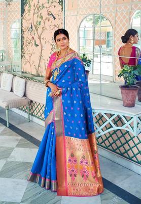 Blue Colore Banarasi Silk Saree With Weaving Work Beautiful Party Wear And Wedding Wear Saree Classy Look Saree