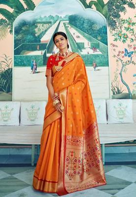 Yellow Colore Banarasi Silk Saree With Weaving Work Beautiful Party Wear And Wedding Wear Saree Classy Look Saree