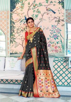 Black Colore Banarasi Silk Saree With Weaving Work Beautiful Party Wear And Wedding Wear Saree Classy Look Saree