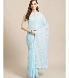 Ada Women's Hand Embroidered Blue Cotton Lucknow Chikankari Saree With Blouse A311210