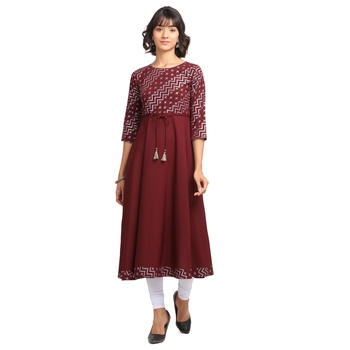 FIORRA Wine Printed Poly Crepe Flared Party Wear Kurtis