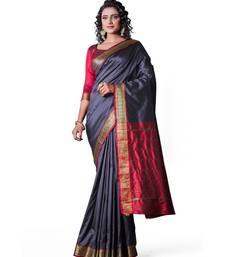GREY  Banarasi Soft Silk  Saree With Blouse