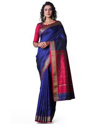 NAVY BLUE Banarasi Soft Silk  Saree With Blouse