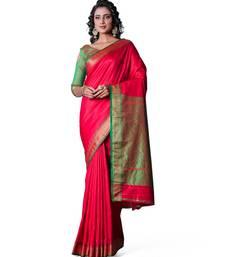 RED  Banarasi Soft Silk  Saree With Blouse