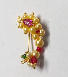 Ruby Pink Pearl Traditional Princess Style Nose Pink Nath